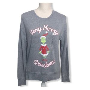THE GRINCH DR SEUSS Gray Soft Graphic Sweatshirt S